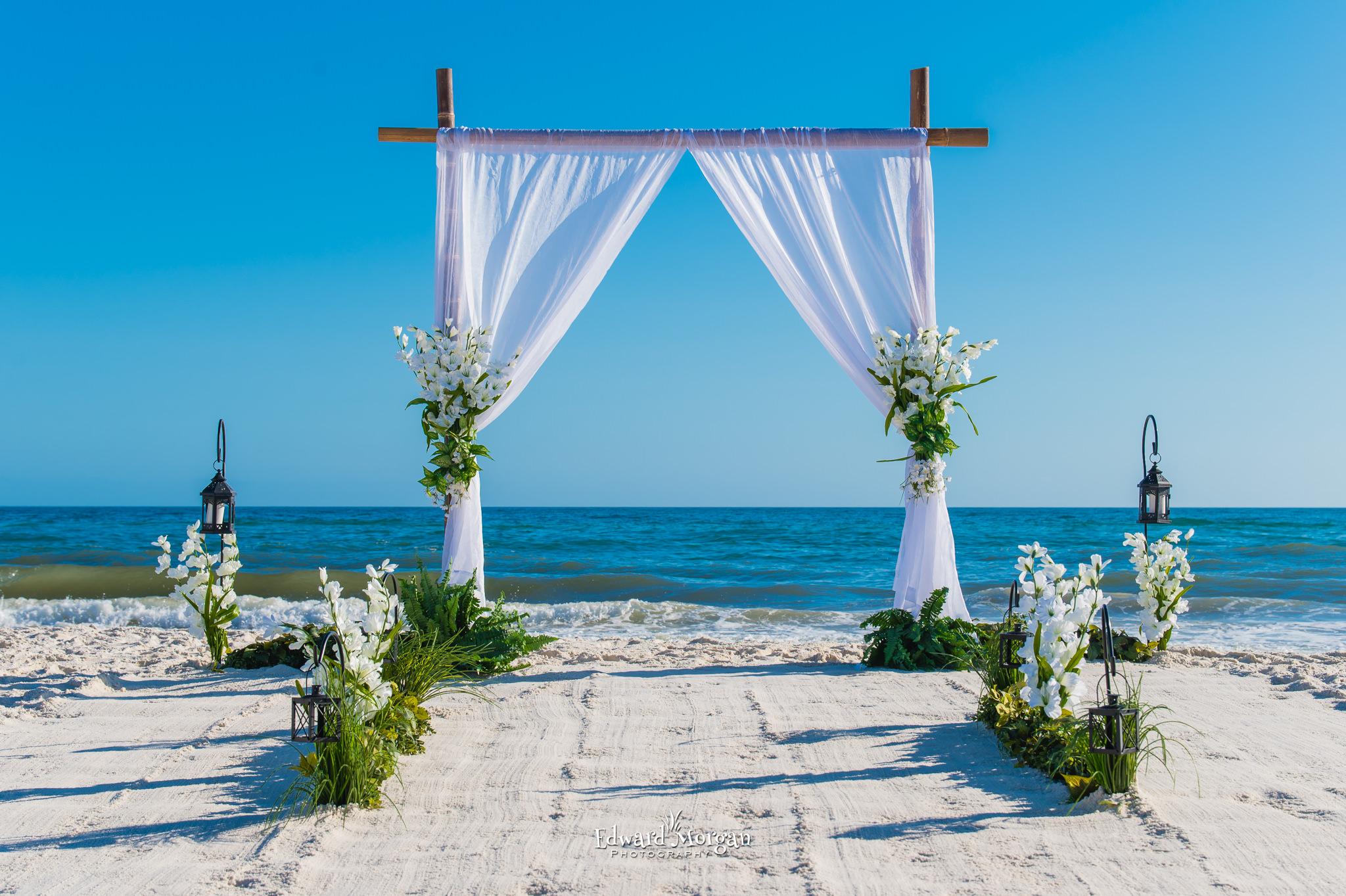 Bwach wedding arch white